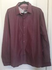GIORGIO BELLINI Men's Shirt Red/Berry Contrast Cuffs 100% cotton Sz XXL