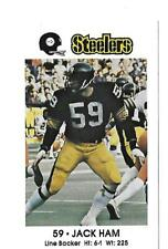 JACK HAM 1981 COCA COLA PITTSBURGH STEELERS  POLICE CARD LOCAL ISSUE