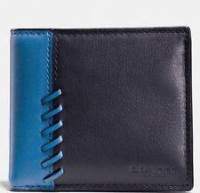 Coach 75212B Men's Boxed Black/ Denim Blue Rip & Repair Billfold Leaather Wallet