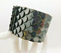Dragon Fish Scale Gunmetal Tone Black Dark Cuff Bracelet