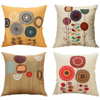Home Flowers Linen Cotton Cushion Cover Sofa Throw Pillow Case Bedroom Decor