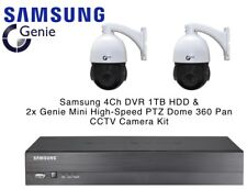 Samsung 4Ch DVR 1TB & 2x Genie 1080p HD Mini 360° Pan PTZ Dome CCTV Camera Kit
