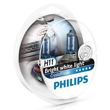 PHILIPS H11 Crystal Vision 4300K Bulbs 12362CVSM + Parking Lights Genuine