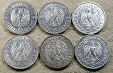 UNIQUE 6 x Full Mint Set 5 ReichsMark Hinderburgh 1936 Nazi Silver Coins Lot 1