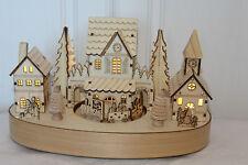 Noël En bois Intérieur Musical lampes LED Village église Scène rotatif Train