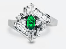 Beautiful 1.13 Carat Marquise Emerald & Diamond Anniversary Ring / cocktail Ring