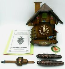 Hubert Herr Black Forest Chalet 1-day Cuckoo Clock Moving Chimney Sweeper NIB
