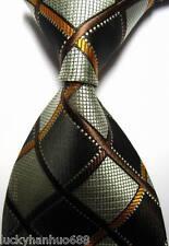 New Classic Checks Brown Gold Beige JACQUARD WOVEN 100% Silk Men's Tie Necktie