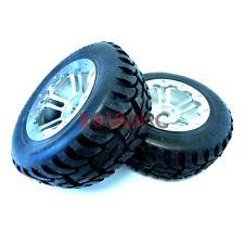 Rovan Rear Mud Terrain Tires On SS CNC Aluminum, Alloy Rims fits HPI Baja 5T 5SC