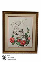 Jeanne Holdgate Signed Floral Print Cherry Blossoms Red Flowers Butterflies 1974