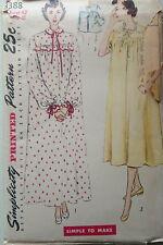 """VINTAGE 1950s Sewing Pattern semplicità 3388 WOMEN'S Camicia Da Notte & Giacca Letto B42"""""""