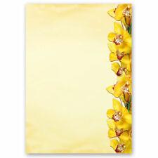 Motiv-Briefpapier GELBE ORCHIDEEN - DIN A4 Format 20 Blatt Blumenmotiv