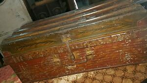Antique Iron trunk Box Hand Painted Motifs traditional Ornate India travelling