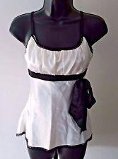 Heart Soul Egg Shell White & Black Spaghetti Strap Shirt Women's Size Small