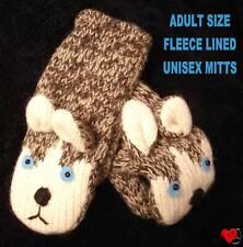 Siberian Husky Mittens puppet Lnd knit Adult animal huskies dogs mens women Mitt