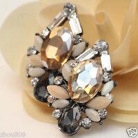 "Design Lady Bib Statement clear crystal long Ear Studs earrings hot 1 1/4"" e272"