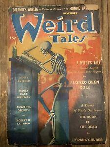 WEIRD TALES November 1941 pulp magazine August Derleth Hannes Bok art cover