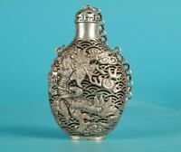 Collectible Tibet Silver Carved Dragon Statue Hollow out Snuff Bottle Netsuke