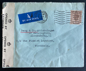 1945 Brighton England Censored airmail Cover To Finish Legation Stockholm Sweden
