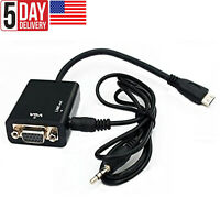 Micro HDMI TO VGA with Audio Cable Adapter Connector For Projector Laptop DVD