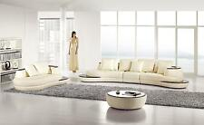 Modern 5 PIeces Ivory Bonded Leather Sectional Sofa Set AE-L222R-IV