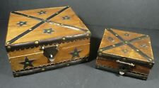 Set of 2 Vintage Rustic Decorative Wooden Boxes Metal Stars Studs & Trim Country