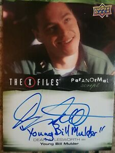 Dean Aylesworth Inscription Autograph Card Young Bill Mulder X Files Ufos And...