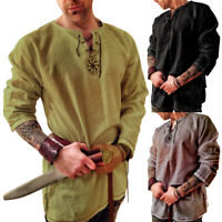 New Men's Retro Long Sleeve Baggy Linen Cotton V Neck T-Shirt Tops Loose Fashion