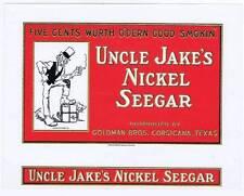 Uncle Jake's Nickel Seegar, original inner cigar box label, cat