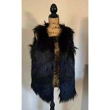Romeo + Juliet Couture Women's Large Black & Purple Faux Fur Fuzzy Vest