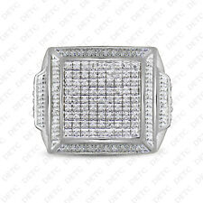 Diamond Pinky Ring Men's White Gold Finish Round Cut Wedding Band 1.91 CT