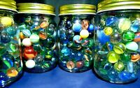 Vintage Marbles In Glass Mason Jar Peltier Akro Agate Alley Agate Marble King +