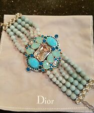 $990 NWT CHRISTIAN DIOR SILVER CUFF BRACELET BLUE MULTI STRANDS BEADS & CRYSTALS