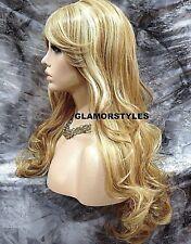 Human Hair Blend Wavy Blonde Mix Full Wig Heat Ok Hair piece  #MF24-613A NWT