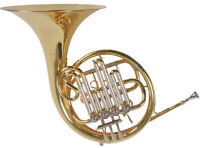 French Horn, Bb Waldhorn, Goldmessing Mundrohr, 4 Zylinderventile, Koffer, NEU