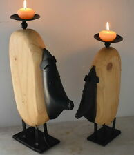 Quirky Pigs Candle Set of 2pc 38x20cm and 32x20cm. Pine Wood and Iron