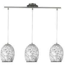 Searchlight 8069-3WH Crackle White Mosaic Glass 3 Light Fitting Dome Shades
