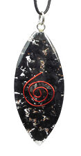 PENDANT - SHUNGITE ORGONE (ORGONITE) Lens Shape with Copper Spiral w/Description