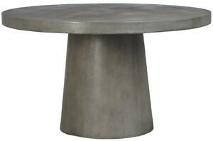 """51"""" L Lioba Round Dining Table Lightweight Concrete Industrial Grey Finish"""
