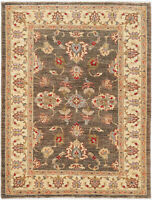 4X6 Hand-Knotted Farhan Carpet Traditional Green Fine Wool Area Rug D30409
