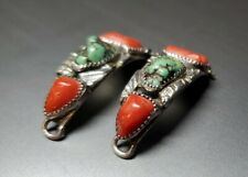 Vtg Sterling Silver Turquoise Coral Native American Signed CP Watch Band Tips