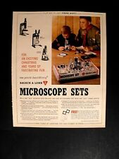 1964 Microscope Sets Science Bausch & Lomb Kids Vintage Boy Scouts Toy Promo Ad