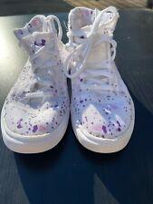 Girls Under Armour Size 12 High Tops White Purple Splatter Guc