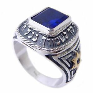 Kabbalah Ring with Angels Protection Blessing and Sapphire Silver 925 Gold 9K