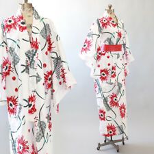 Vintage Red floral cotton Japanese KIMONO wedding coat Jacket Robe