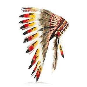 Native American Indian Inspired Feather Headdress(Length: Short) (Red Swan)