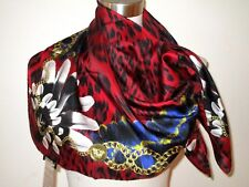 NWT AUTH VERSACE 100% SILK 34X34 NATIVE AMERICAN MOTIFS RED SCARF made in Italy