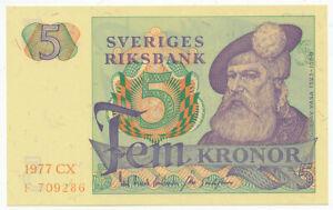 SWEDEN, SVERIGE - 5 Kronor 1977. P51d, UNC. (SW008)