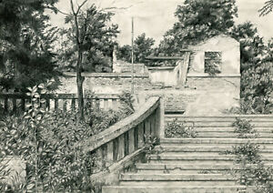 Old House Architecture Pavilion Nature Drawing Graphite Paper Free Shipping