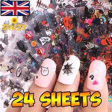 24 Fogli Halloween Nail Art Nail Stickers 3D adesivi per unghie HALLOWEEN nail art
